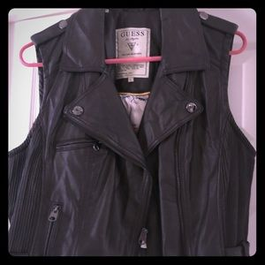 Faux leather vest, worn once